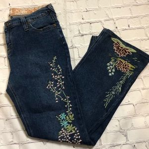 Geography floral embroidered wide leg jean…